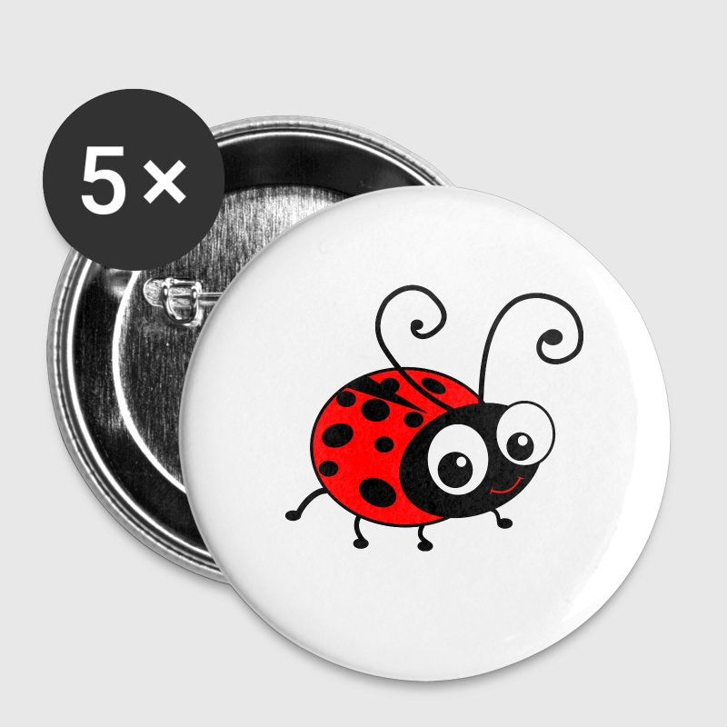 Cute Happy Ladybug Buttons - Small Buttons