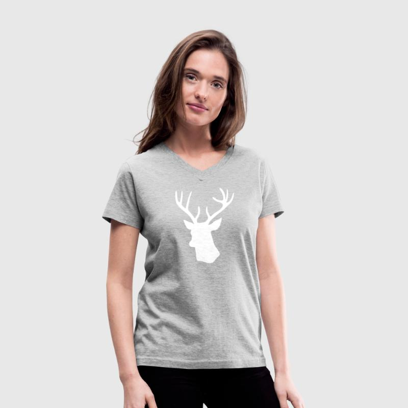 White Stag Deer Head Women's T-Shirts - Women's V-Neck T-Shirt
