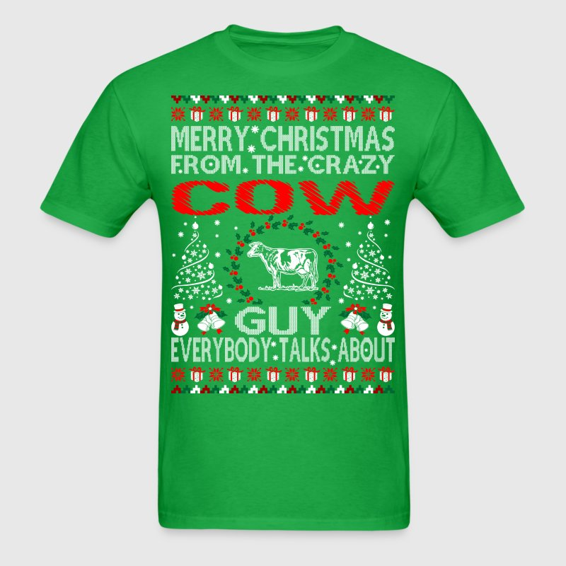 Merry christmas from cow guy ugly sweater tshirt t shirt Merry christmas t shirt design