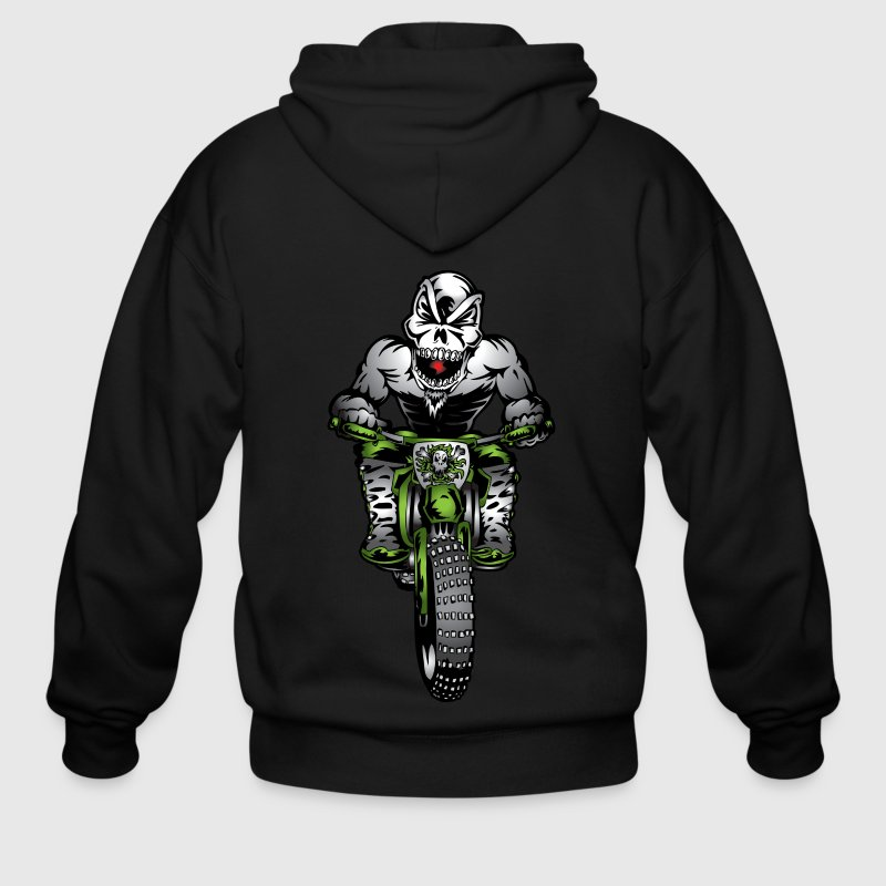 Kawasaki Motorbike Skull Monster Zip Hoodies & Jackets - Men's Zip Hoodie