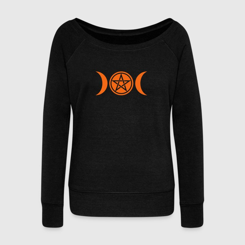 Wicca triple moon - Goddess symbol - Pentagram Long Sleeve Shirts - Women's Wideneck Sweatshirt