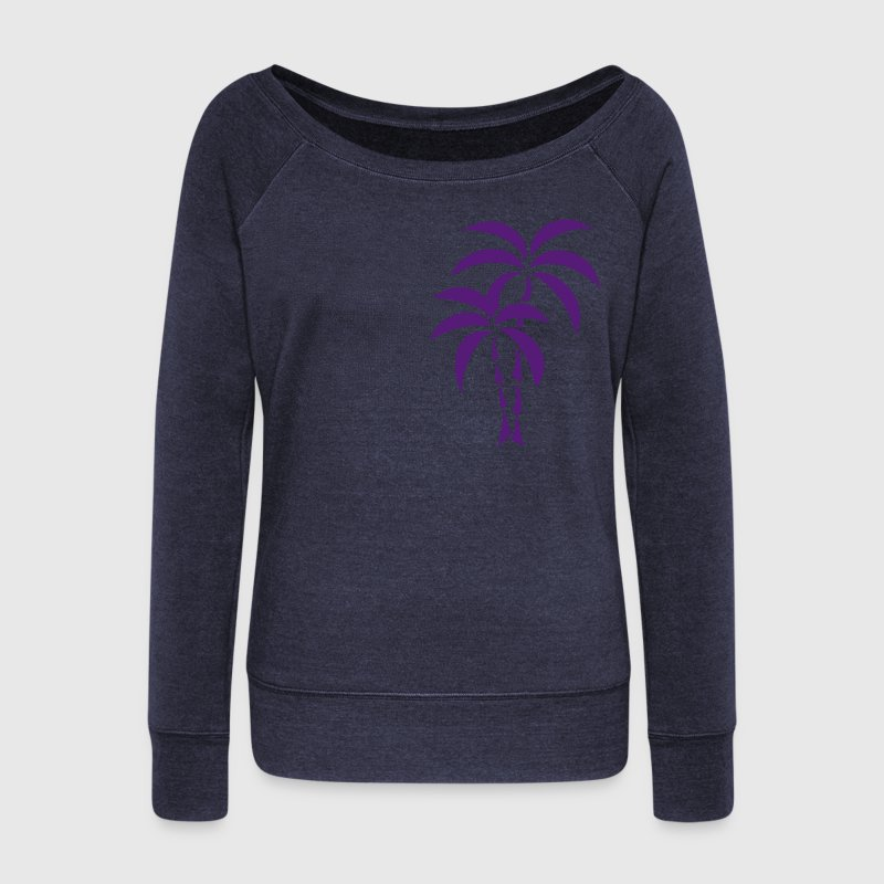 Palm Tree / Tattoo Style / Vector / Long Sleeve Shirts - Women's Wideneck Sweatshirt