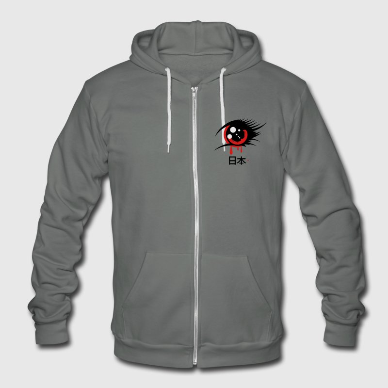 A Japanese anime eye Zip Hoodies/Jackets - Unisex Fleece Zip Hoodie by American Apparel