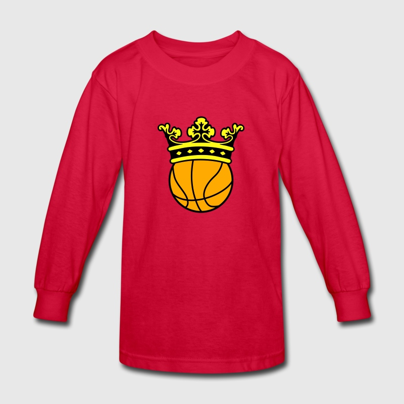 Basketball Crown Kids' Shirts - Kids' Long Sleeve T-Shirt