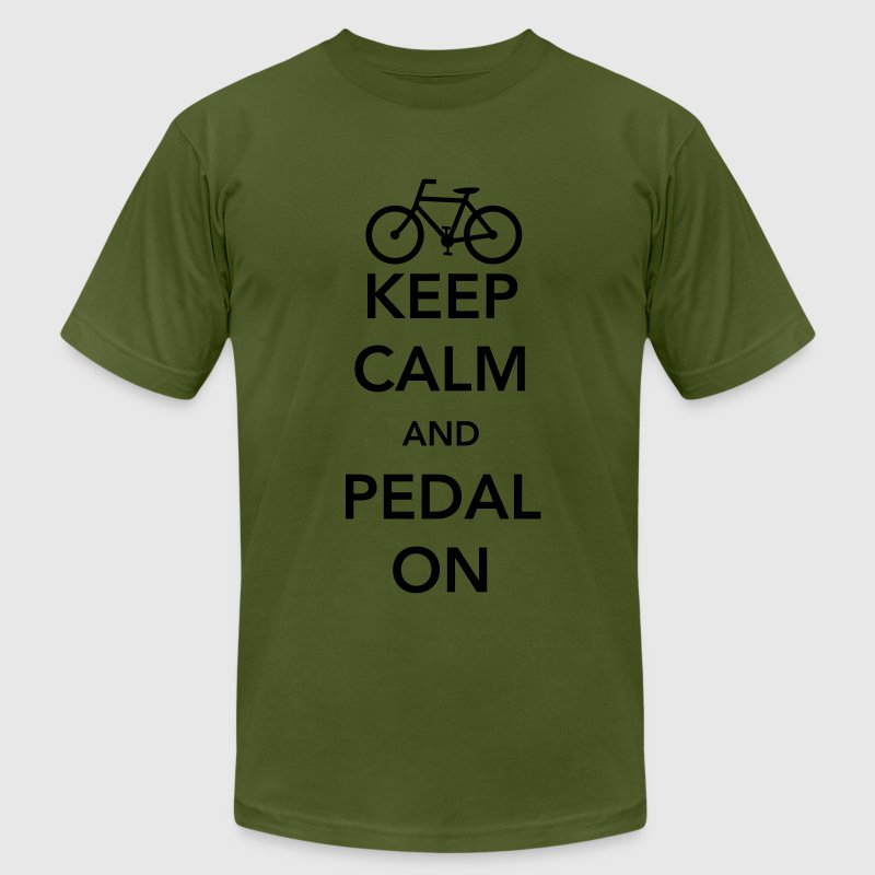Keep Calm and Pedal On T-Shirts - Men's T-Shirt by American Apparel