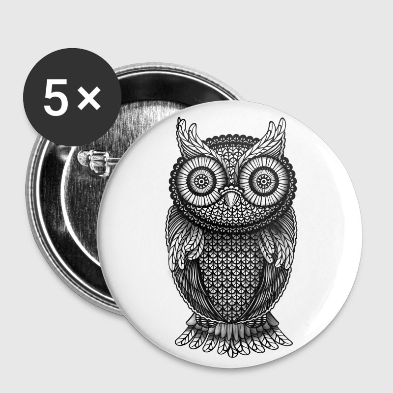 ornamental Owl Design black and white Buttons - Large Buttons