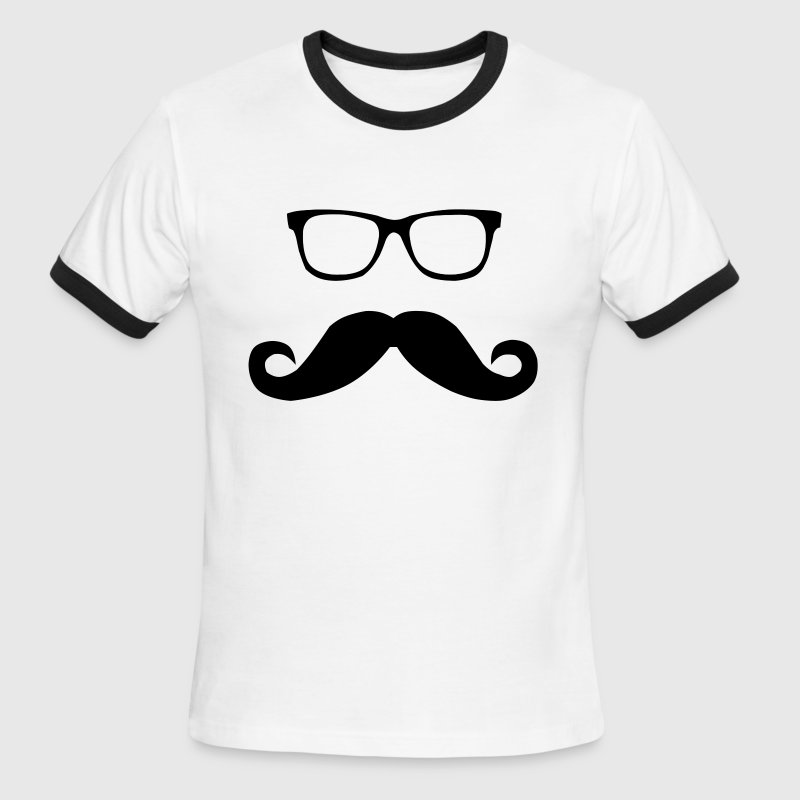 Hipster Glasses and Mustache - Men's Ringer T-Shirt