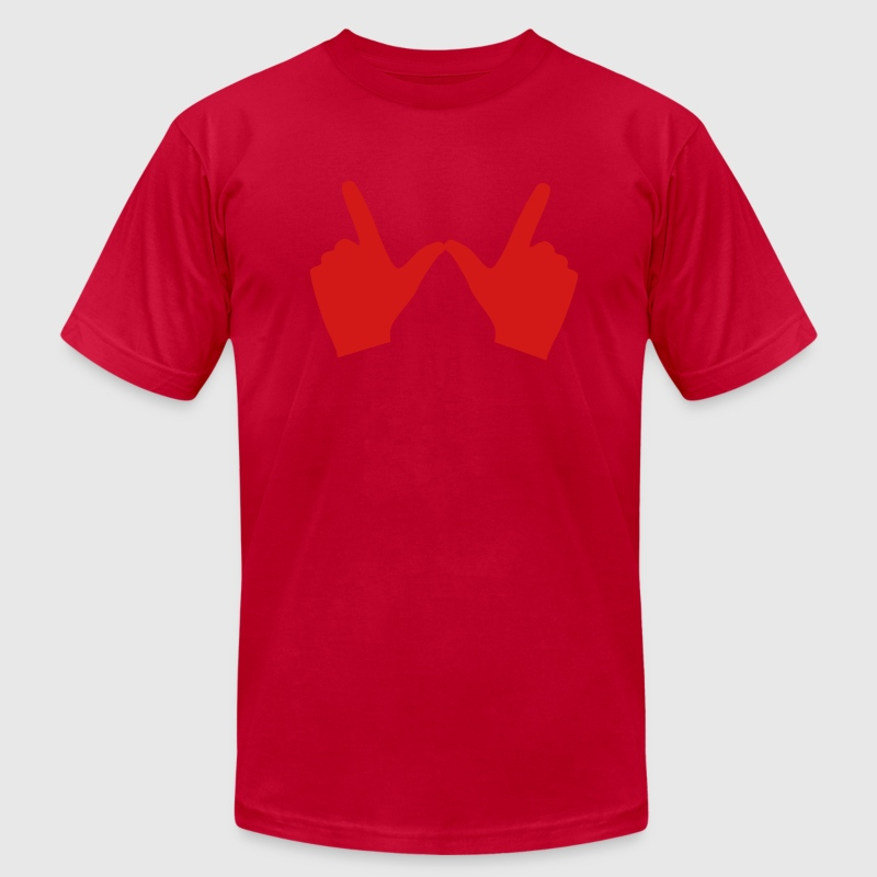 Wisconsin hand W T-Shirts - Men's T-Shirt by American Apparel