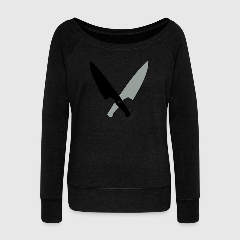 crossed chefs butchers cooking knives  Long Sleeve Shirts - Women's Wideneck Sweatshirt