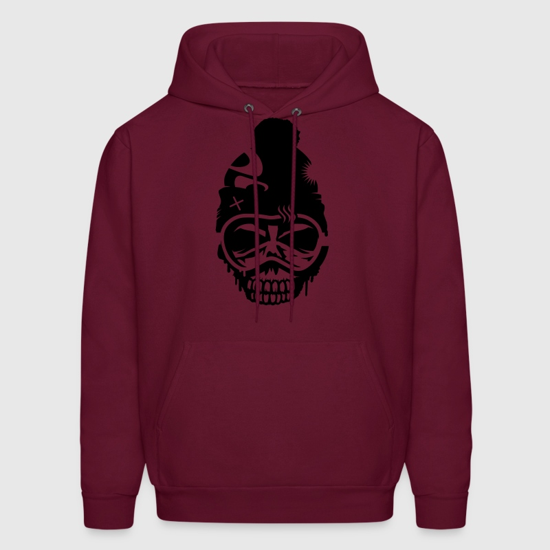 A skull with  snowboard goggles and a cap Hoodies - Men's Hoodie