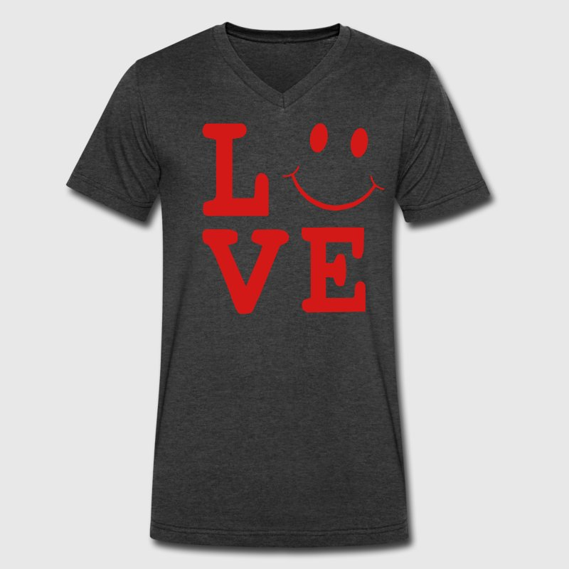 LOVE SMILEY FACE T-Shirts - Men's V-Neck T-Shirt by Canvas