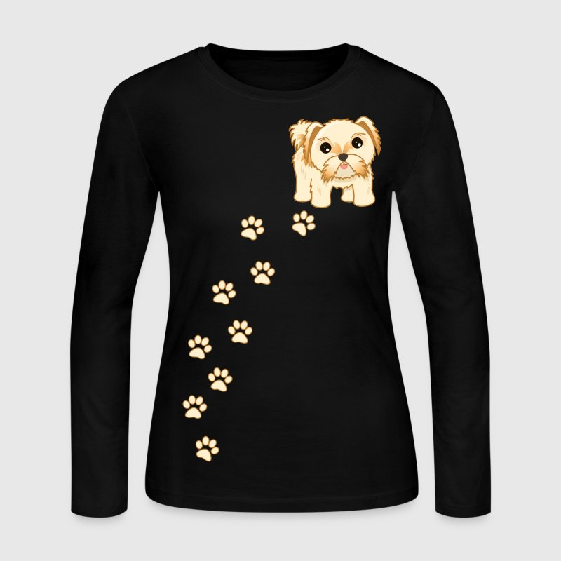 Cute Shih Tzu Puppy Dog Cartoon - Women's Long Sleeve Jersey T-Shirt