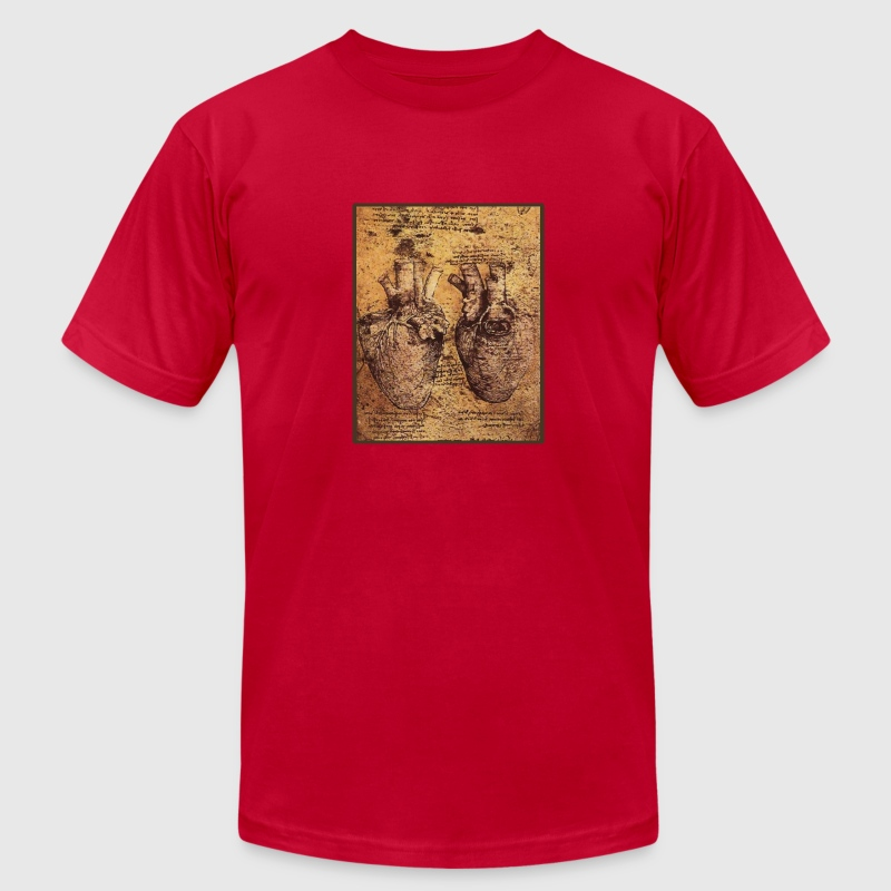 Leonardo da Vinci's Heart Drawing - Men's Fine Jersey T-Shirt