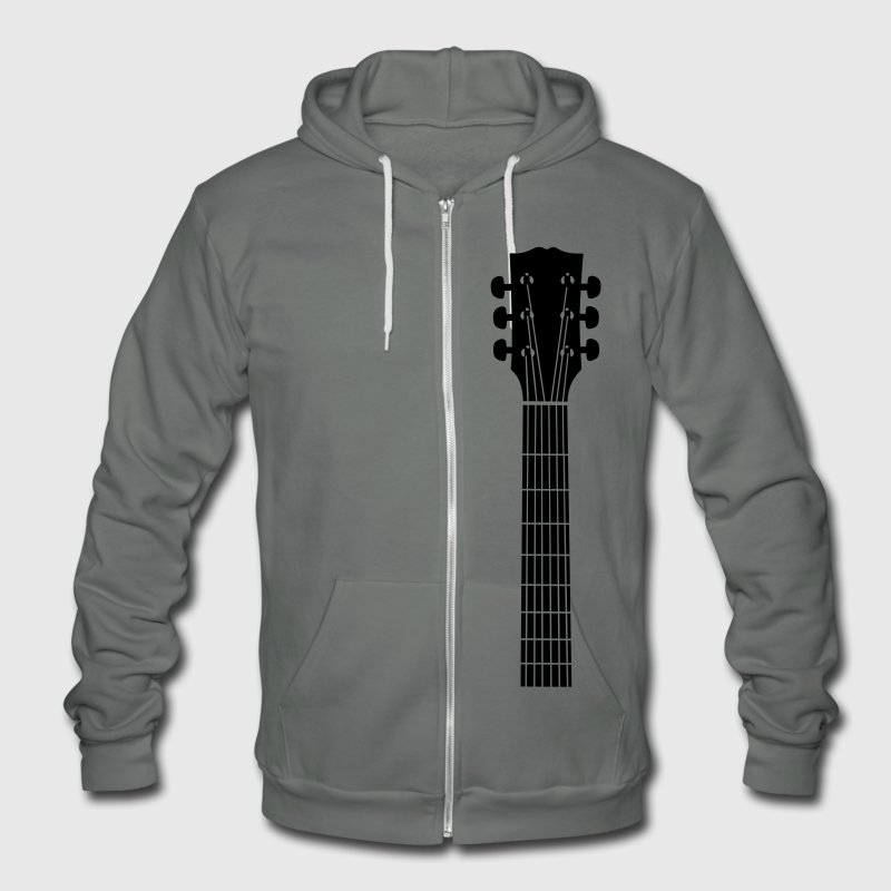 guitar head Zip Hoodies/Jackets - Unisex Fleece Zip Hoodie by American Apparel