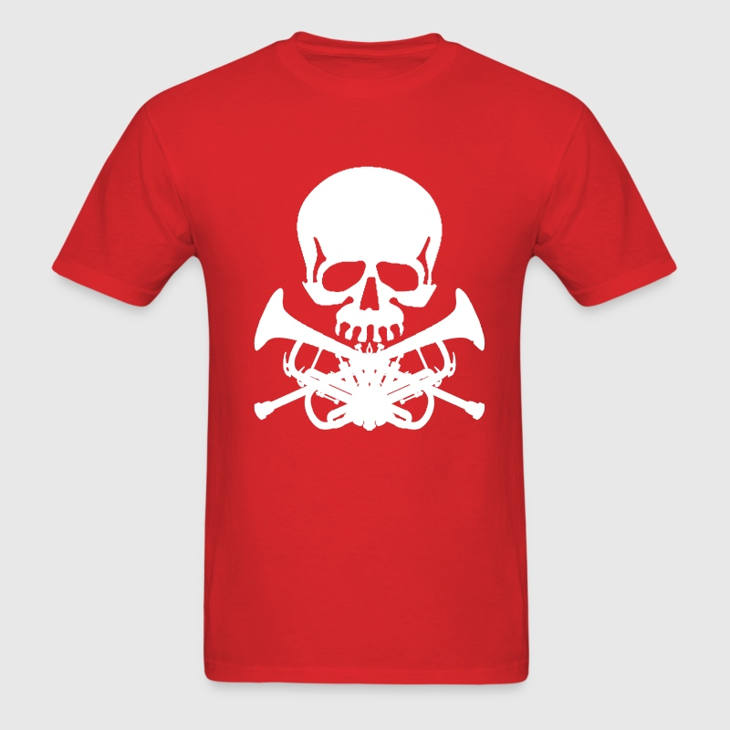 Skull with Trumpet Crossbones - Men's T-Shirt