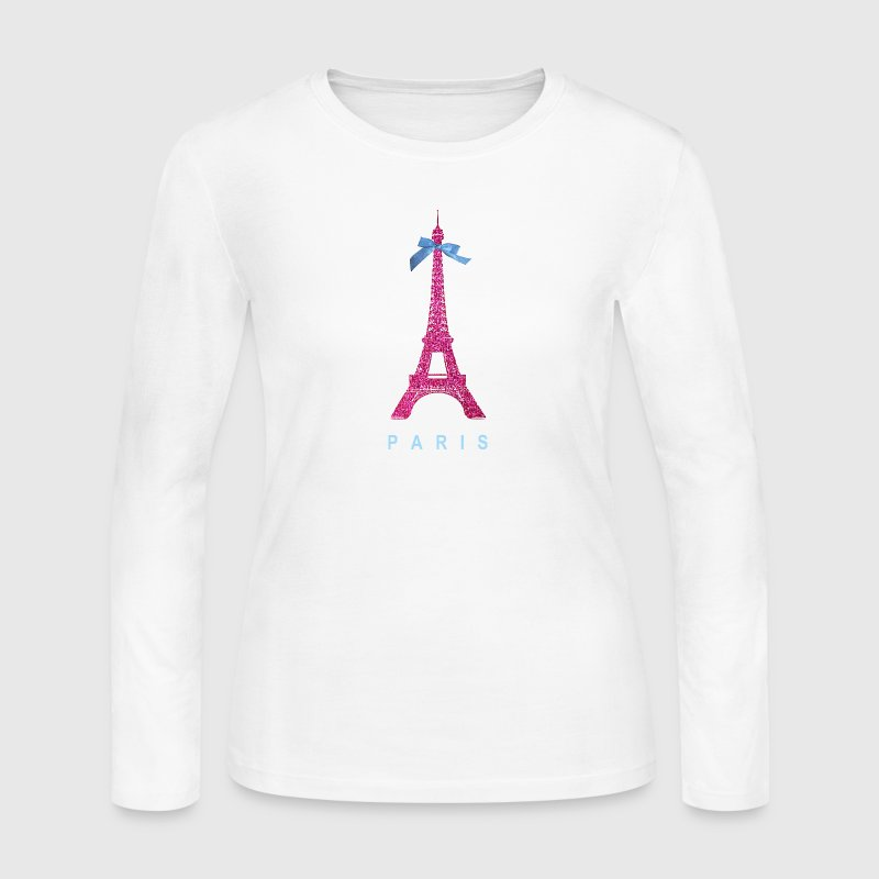 Hot Pink Paris Eiffel Tower Long Sleeve Shirts - Women's Long Sleeve Jersey T-Shirt