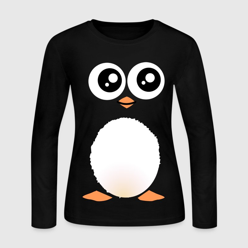 Cute Black Penguin Long Sleeve Shirts - Women's Long Sleeve Jersey T-Shirt