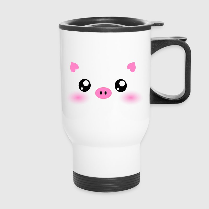 Cute Kawaii Pig face Bottles & Mugs - Travel Mug