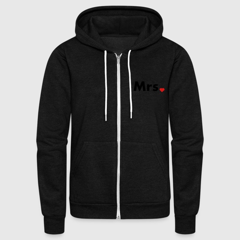 Mrs with heart dot - part of Mr and Mrs set Zip Hoodies/Jackets - Unisex Fleece Zip Hoodie by American Apparel