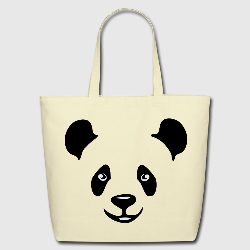 panda teddy bear face cute animal save Bags  - Eco-Friendly Cotton Tote