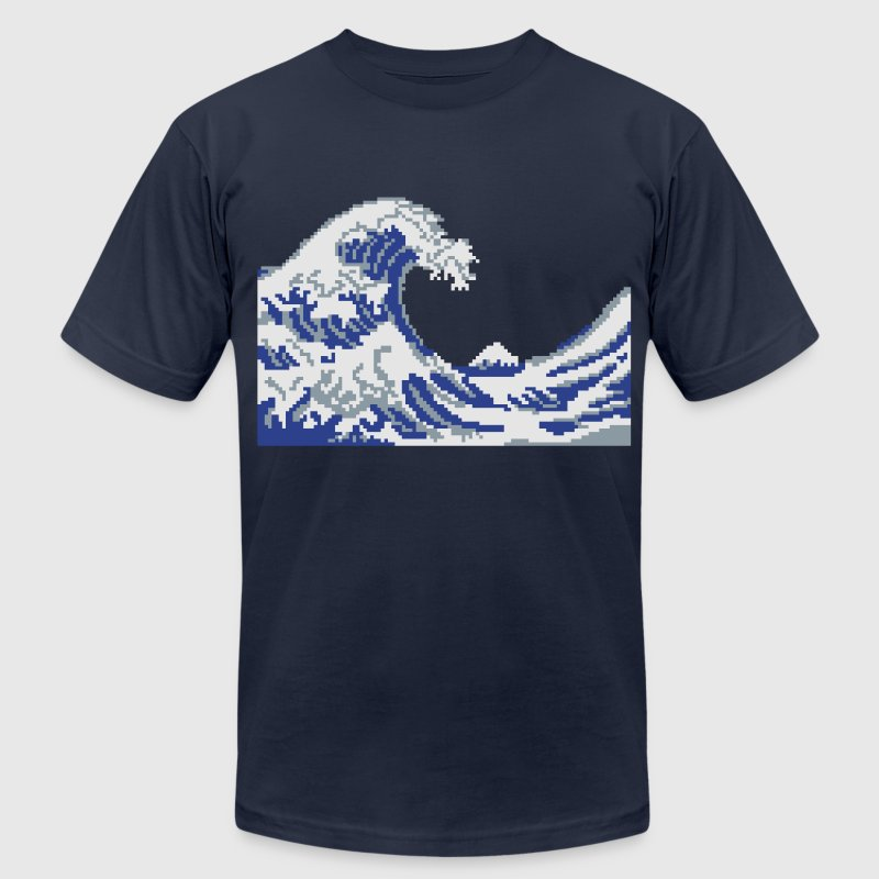 Hokusai Wave Pixel art T-Shirts - Men's T-Shirt by American Apparel