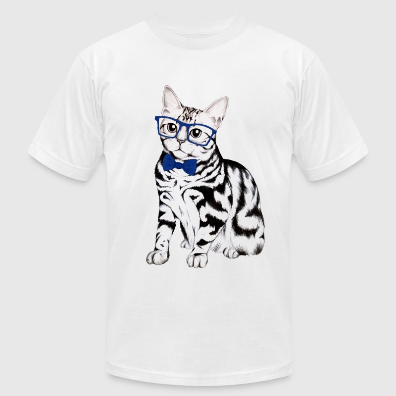 Hipster Cat - Men's T-Shirt by American Apparel