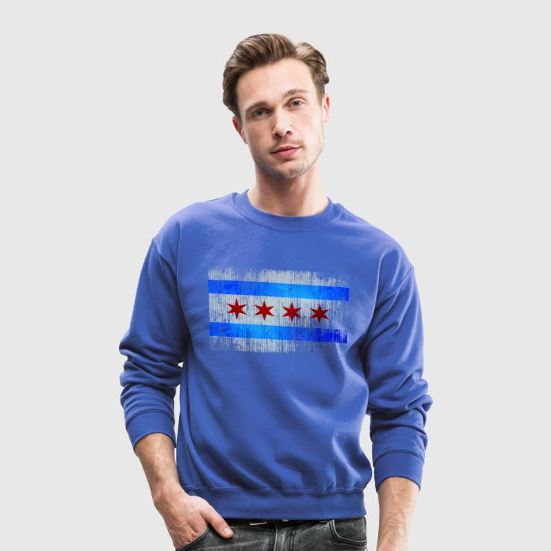 Chicago Flag Faded Chicago Hoody Long Sleeve Shirts - Crewneck Sweatshirt
