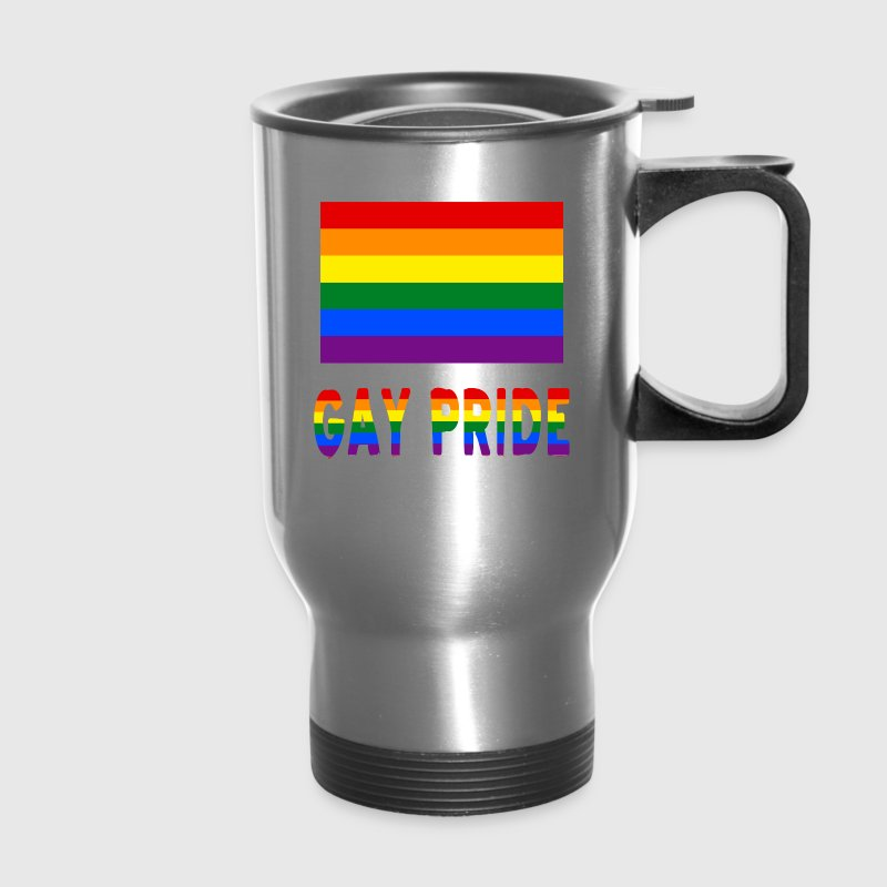 Gay Pride Rainbow Flag and Words - Travel Mug