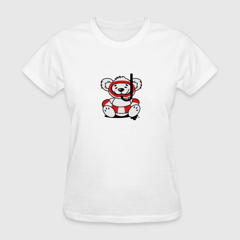 A bear with a rubber ring, diving mask and snorkel Women's T-Shirts - Women's T-Shirt