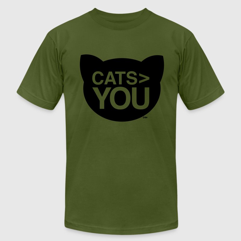 cats greater than you Cat Versus Humans mp T-Shirts - Men's T-Shirt by American Apparel
