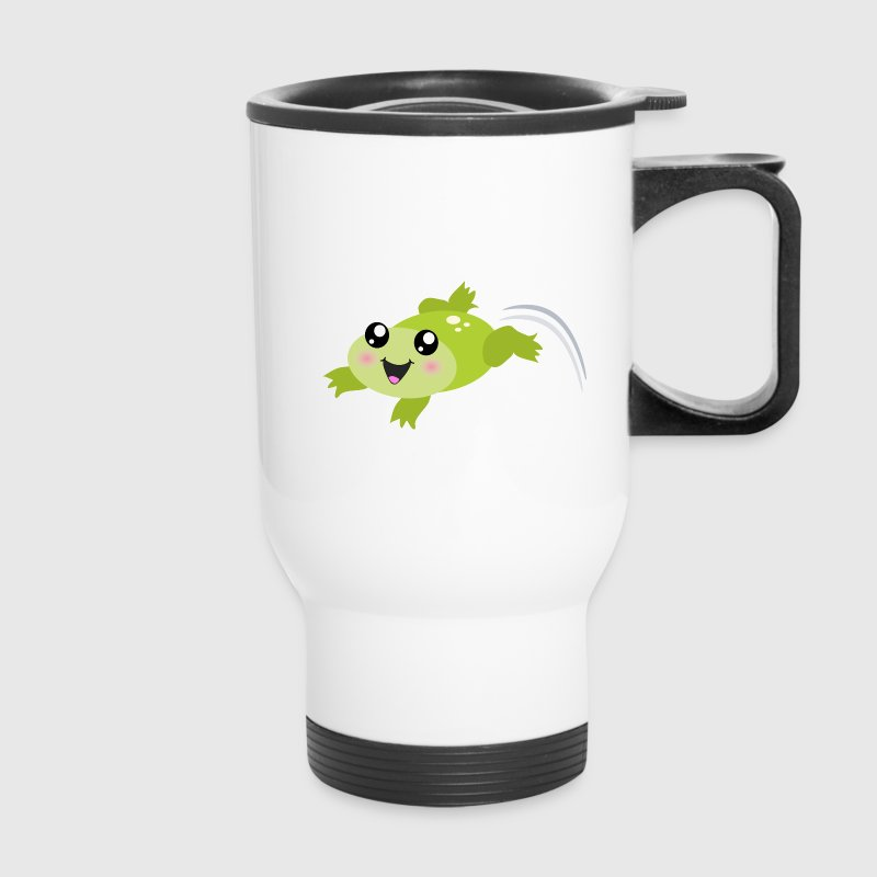 Cute green jumping frog Bottles & Mugs - Travel Mug