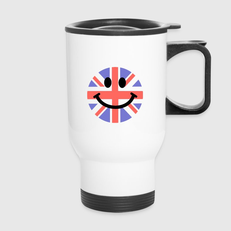 British Flag Smiley Face Bottles & Mugs - Travel Mug