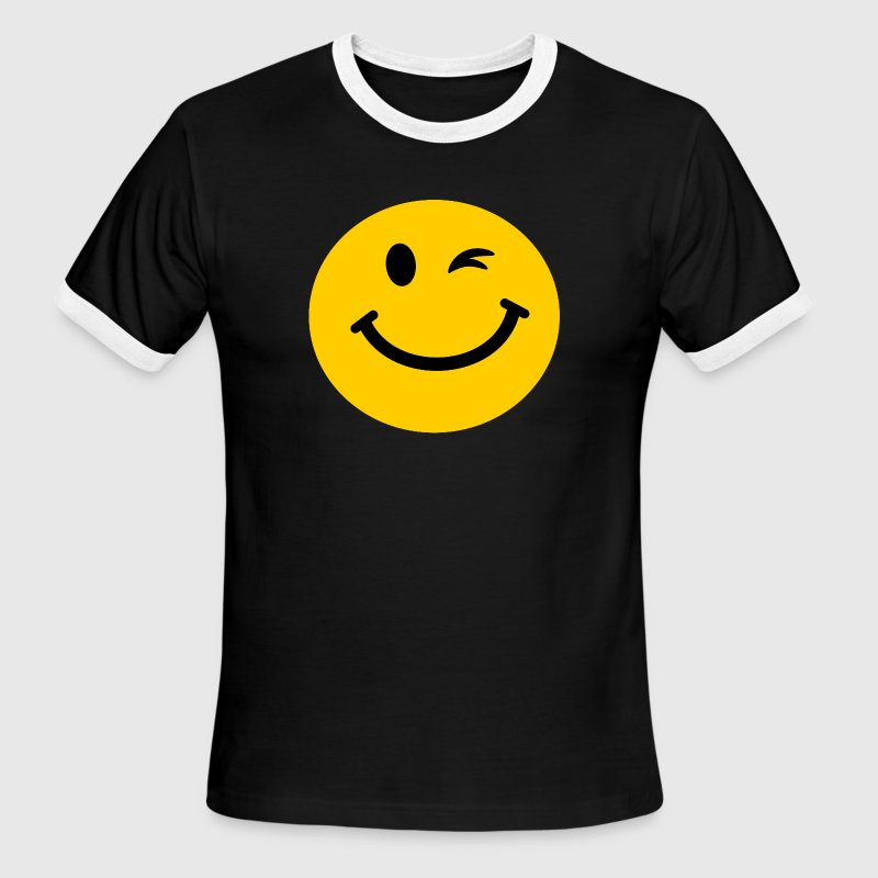 Winking Smiley face T-Shirts - Men's Ringer T-Shirt