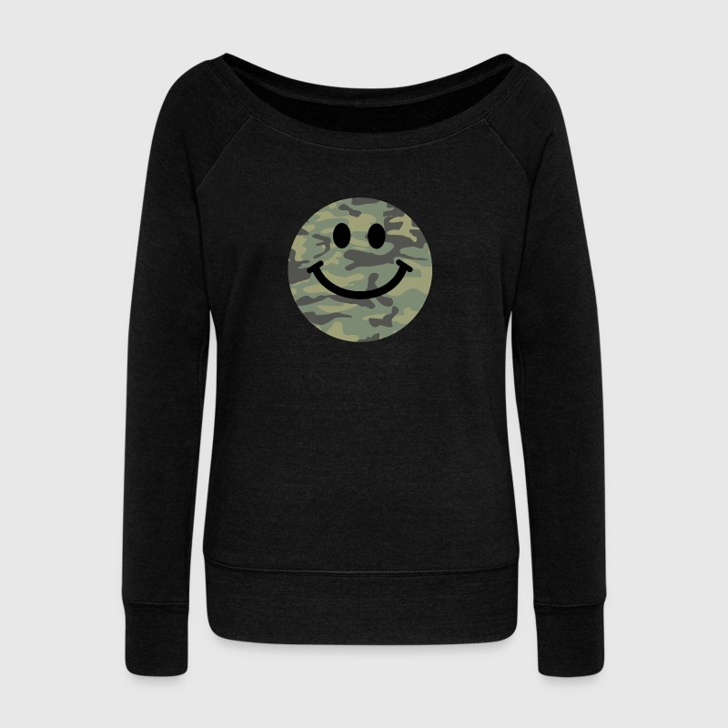 Army green camo Smiley face Long Sleeve Shirts - Women's Wideneck Sweatshirt