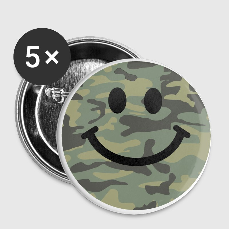 Army green camo Smiley face Buttons - Large Buttons