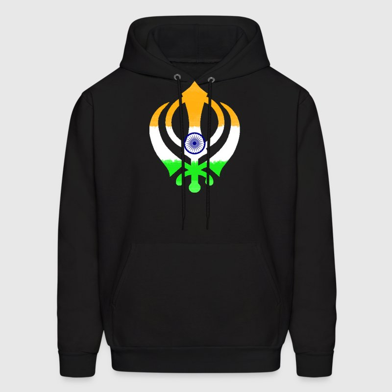 Indian Flag Khanda (Sikhism) Hoodies - Men's Hoodie