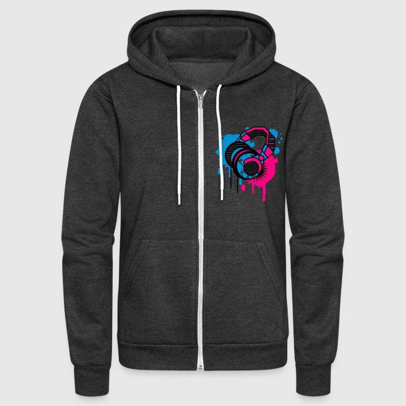 Headphones Graffiti Design Zip Hoodies/Jackets - Unisex Fleece Zip Hoodie