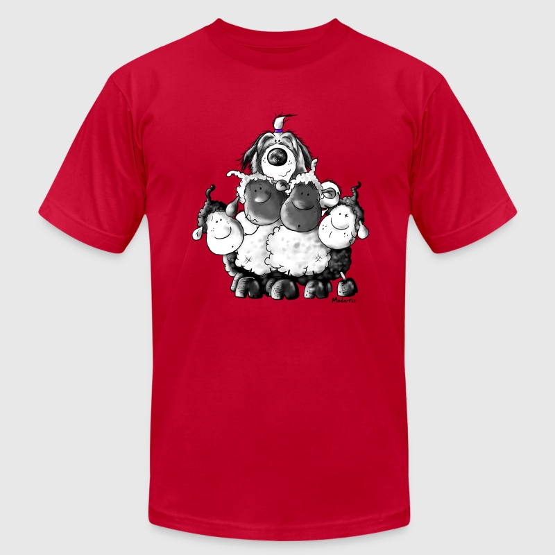 Bearded Collie and sheep - Herding dog design T-Shirts - Men's T-Shirt by American Apparel