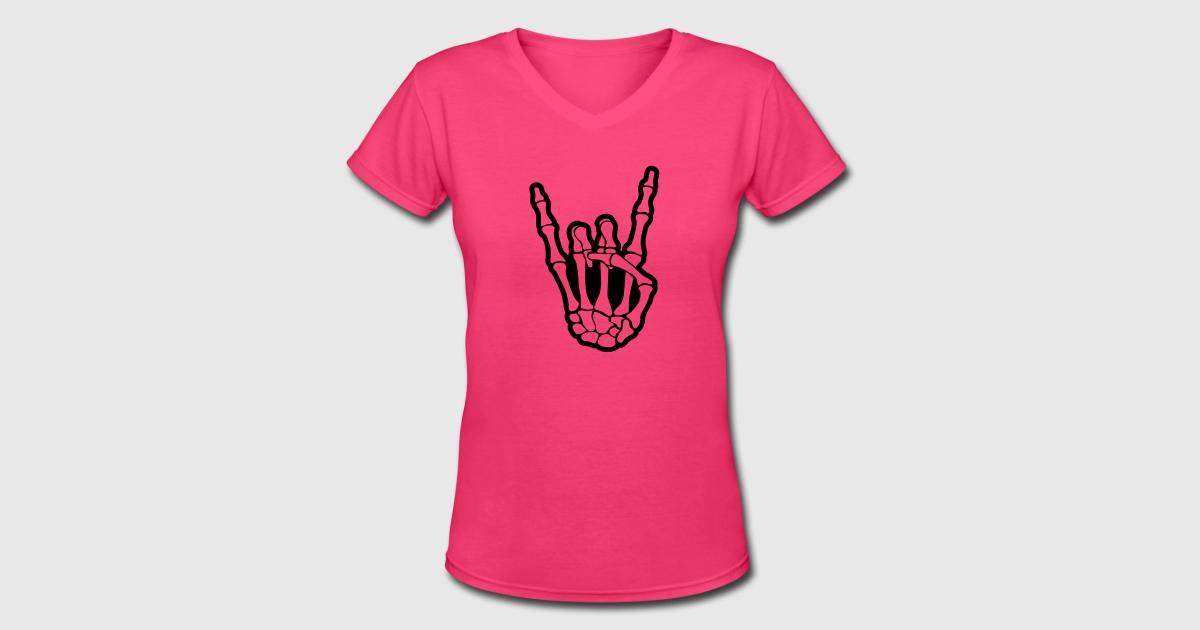 Skull rock hand t shirt spreadshirt for Full hand t shirts for womens