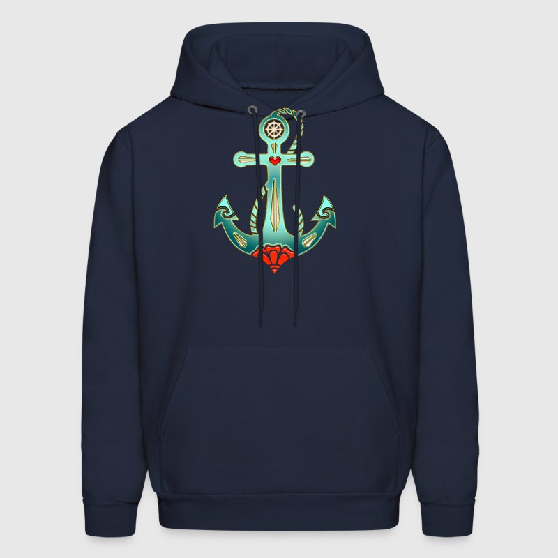 Anchor Tattoo Style, Sea, Hope, Faith & Love Hoodies - Men's Hoodie