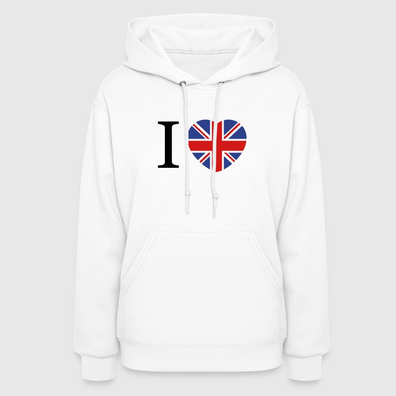 I love UK flag and heart Hoodies - Women's Hoodie