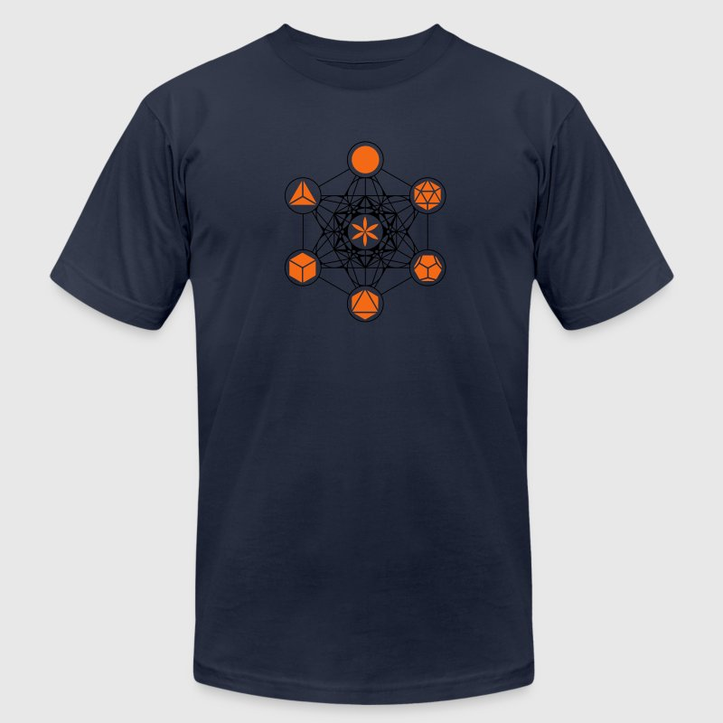 Platonic Solids, Metatrons Cube, Flower of Life T-Shirts - Men's T-Shirt by American Apparel