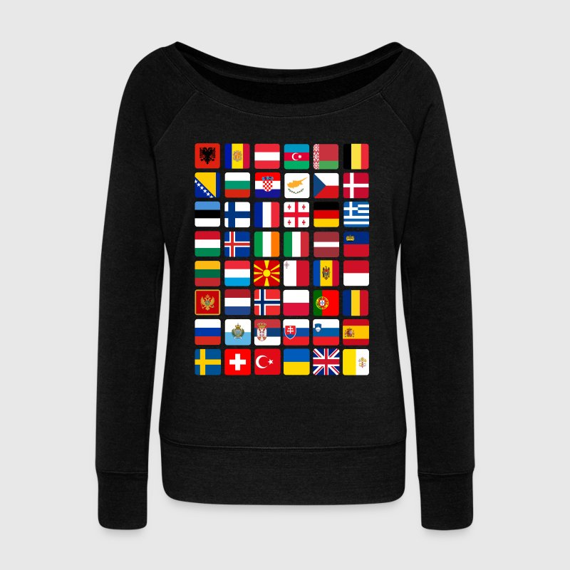 European Flags Long Sleeve Shirts - Women's Wideneck Sweatshirt