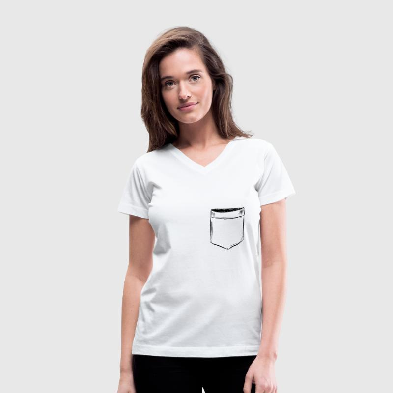 Pocket Drawing Comic Women's T-Shirts - Women's V-Neck T-Shirt