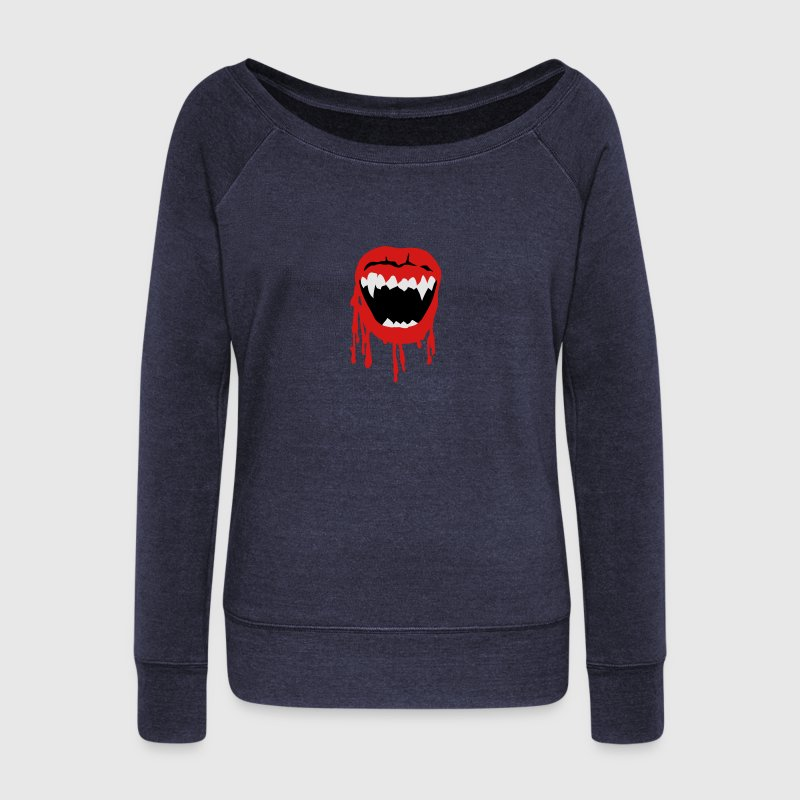 Vampire mouth Long Sleeve Shirts - Women's Wideneck Sweatshirt