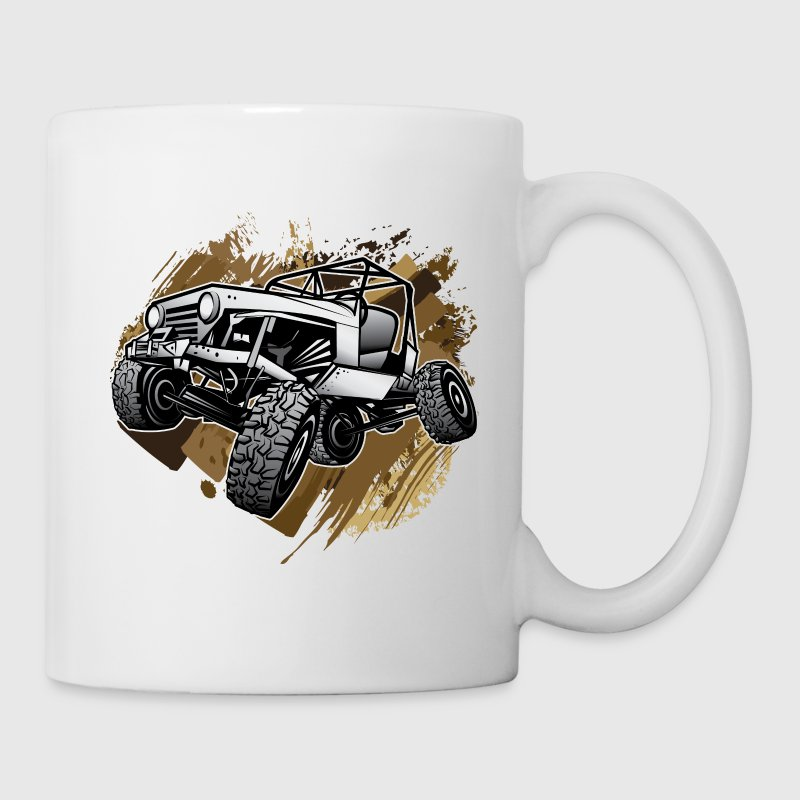 Off-Road Mudding White Jeep Bottles & Mugs - Coffee/Tea Mug