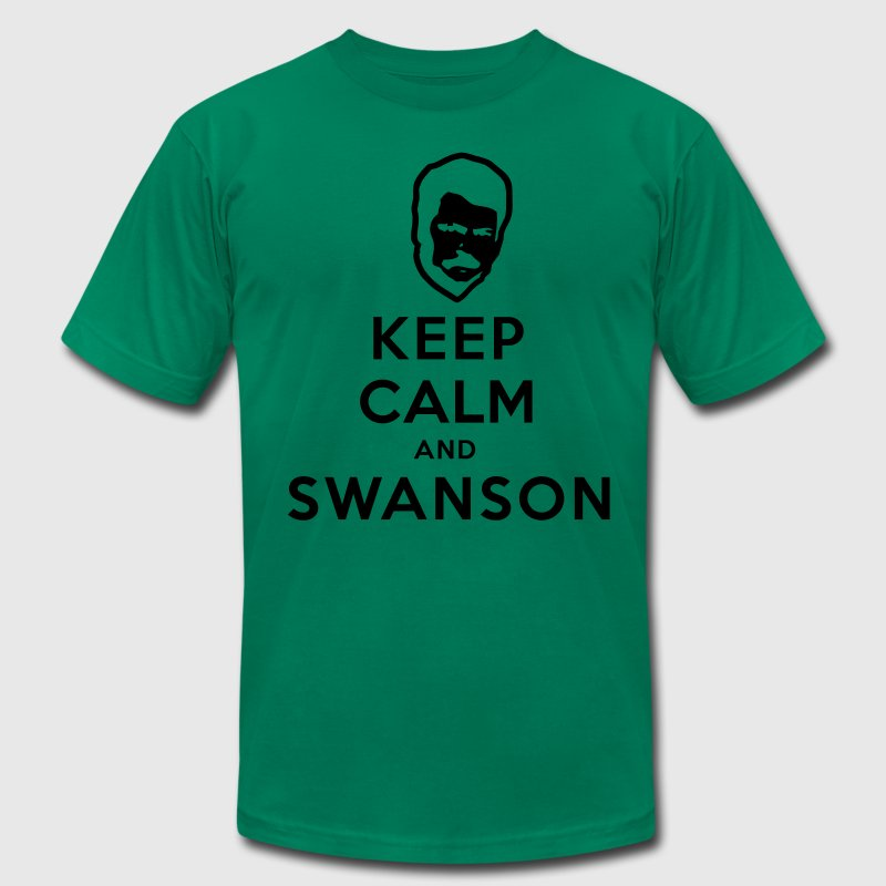Keep Calm and Swanson Men's Humor T-Shirts - Men's T-Shirt by American Apparel