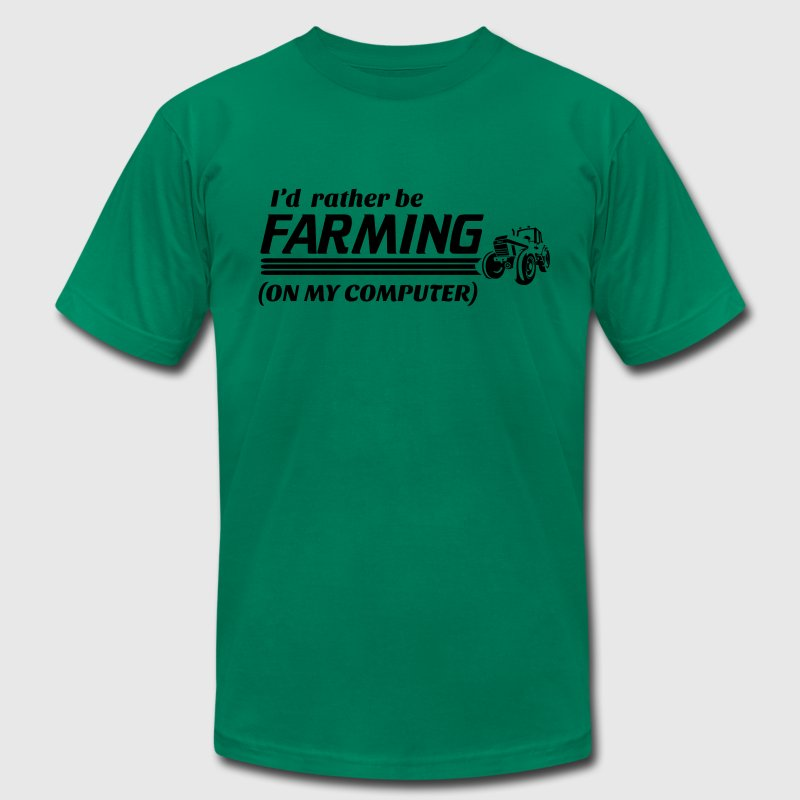 I'd rather be farming on my computer T-Shirts - Men's T-Shirt by American Apparel