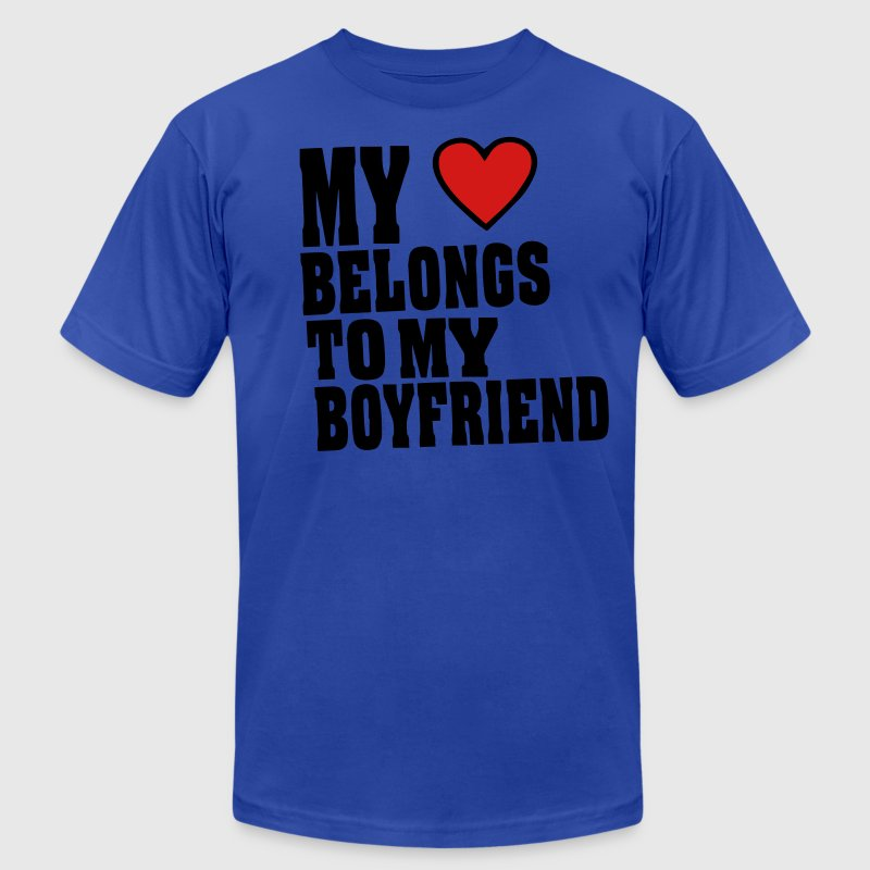 MY HEART BELONGS TO MY BOYFRIEND T-Shirts - Men's Fine Jersey T-Shirt