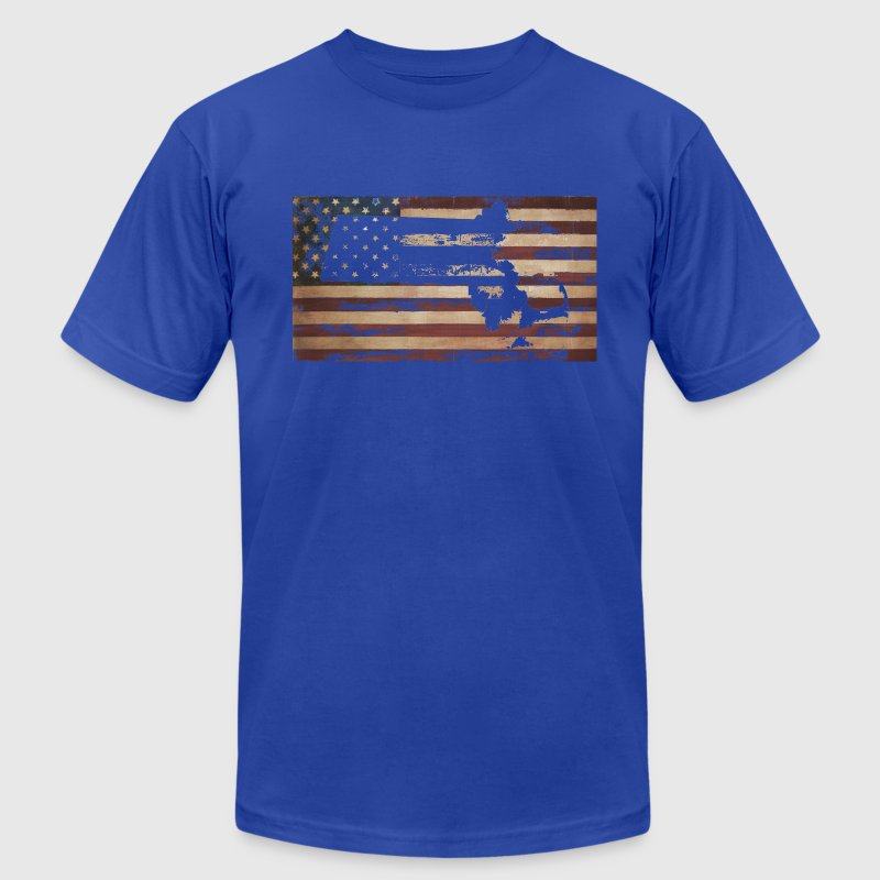 Massachusetts American Flag T-Shirts - Men's T-Shirt by American Apparel